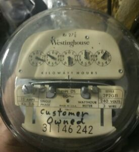 Vintage Westinghouse Electric Meter 240 Volts 100 Amp 3 wire 2p2g11 Ds