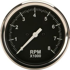 Speedway Motors Universal Black 3 3 8 Inch Electric Tachometer 0 8000 Rpm