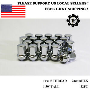 32pc For Chevrolet 7 8hex Oem Factory Chrome 14x1 5 Wheel Lug Nuts Conical Seat