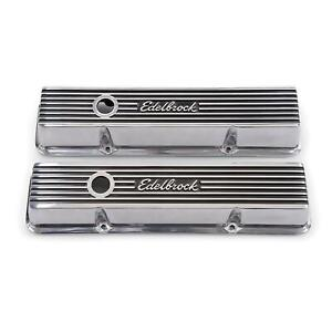 Edelbrock 4262 Elite Series Valve Cover Set Small Block Chevy 305 350 400 Sbc