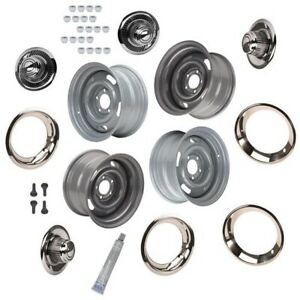 Gm Style Rally Wheels Beauty Rings Derby Caps 5 On 4 75 Silv