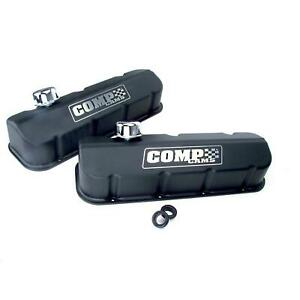Comp Cams 281 Black wrinkle Powdercoated Tall Valve Covers Bbc Pair