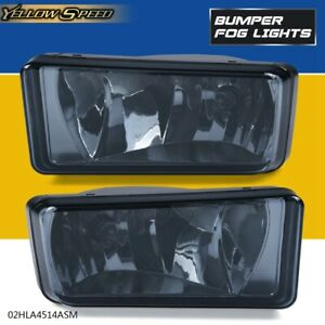 Left Right Fog Lights Lamps Smoked For 07 15 Chevy Silverado Tahoe Suburban