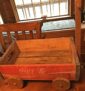 "COCA COLA WOOD CRATE WAGON  cart with handle  approx. 18"" X 12""  Coke"