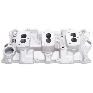 Edelbrock 5418 Small Block Chevy 3x2 3 bolt Carb Intake Manifold