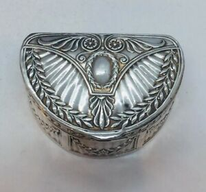 Antique Victorian Sterling Silver Neoclassical Design Pill Box