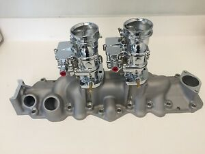 New Satin Alumin 1949 1953 Ford Flathead V8 Dual Intake Manifold W Chrome Carbs