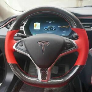 Carbon Fiber Red Pu Leather Steering Wheel Hand Sewing Wrap For Tesla Model S x