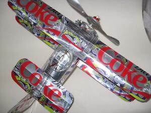 Coca Cola Diet Soda Can Airplane - Handmade-Wind Spinner-can art-Airplane