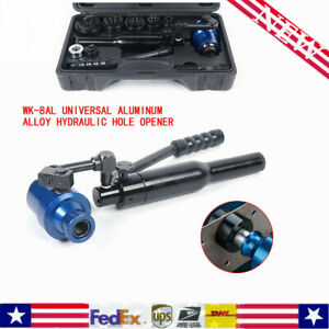 New Wk 8al 360 Hydraulic Knockout Punch Driver Kit 6 Dies Hand Pump Hole Tool