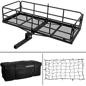 2 Receiver Foldable 60 Basket W Cargo Bag Nylon Net Trailer Hitch Carrier Fit