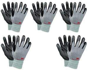 3m Nitrile Work Gloves Grey foam Coated Screen Touch Machine Washable 5 Pairs