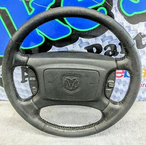 98 01 Dodge Truck Black Leather Cruise Factory Steering Wheel