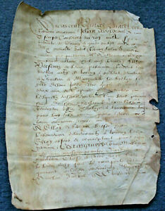C1600 Royal Notary Parchment Manuscript Document Oncial Red Ink Ready To Frame