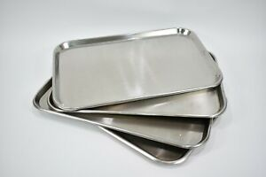 4pc Surgical Large Instrument Trays Flat Stainless Steel For Dental Medical Use