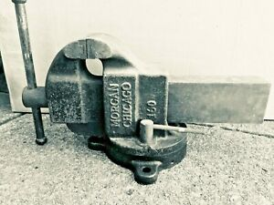 Large Vintage Morgan Vise 160 Chicago 6 Machinists Industrial Heavy Duty Usa