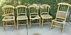 5 Antique Chairs Farmhouse Primitive Painted Flowers W Matching Rocking Chair