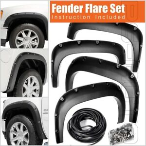 Fit 07 13 Gmc Sierra 1500 Wide Pocket Style Protector Texture Fender Flares New