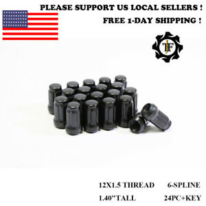 24pc key 12x1 5 For Lexus Black Tuner Racing Spline 1 4 Tall Wheel Lug Nuts