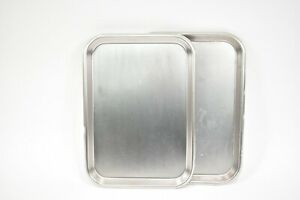 2pc Surgical Instrument Trays Flat Stainless Steel For Dental Medical Use