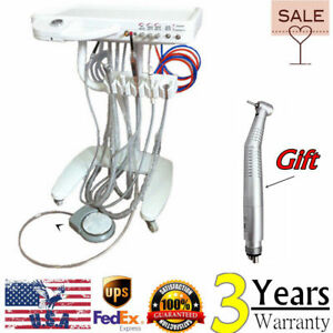 Usa Dental Delivery Unit Mobile 4 Hole Fiber Optic Handpiece Cart W curing Light