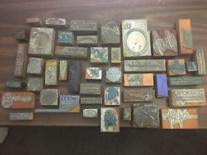 Lot Of Large Antique Vintage Wood Metal Letterpress Type Printer Block Cuts