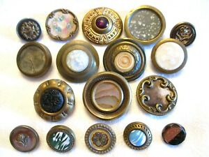 17 Antique Drum Jeweled Glass In Brass Early Old Waistcoat Clothing Buttons