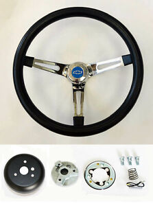 60 69 Chevy C10 Chevrolet Pick Up Steering Wheel Black On Chrome 15 Blue Bowtie