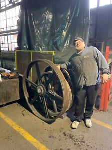 Large 45 Antique Cast Iron Industrial Machine Shop Factory Gear Wheel Pulley