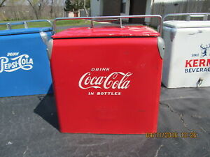 COCA COLA VINTAGE RED PICNIC COOLER 1951 EMBOSSED WITH TRAY