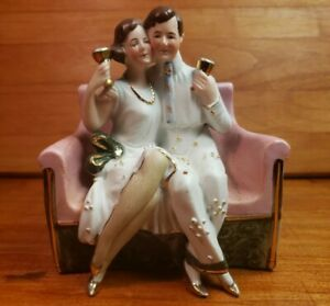 Antique German Bisque Figurine Flapper Couple On Sofa Wedding Cake Germany 8574