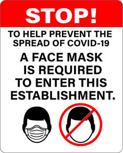 Sticker Face Mask Required Sign vinyl 8 X 10 2 Pack