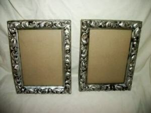 Silver Gilt Gesso Wood Picture Frames Pair Ornate Vintage Mid Century