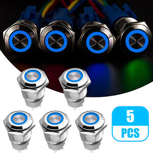 5x 19mm Latching Push Button Power Switch Stainless Steel W Blue Led Waterproof