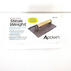 Brand New Adcraft Cast Iron Steak Weight Cooking Utensil