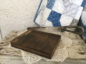 Small 5 Inch Antique Wood Original Vintage Paper Cutter In Working Condition