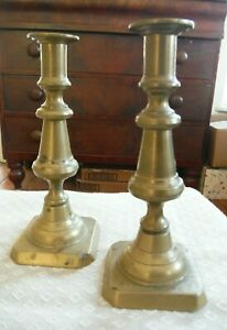 Antique 18 19th C Brass Pair Turned Square Base Push Up Candlesticks 7 3 4 H Vgc