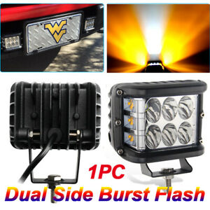 4 Led Work Light Bar Cube Side Shooter Pod White Amber Strobe Lamp Suv Truck