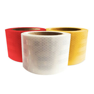 3 Rolls 3 X 30 Ft 1 Red 1 White 1 Yellow Reflective Vinyl Adhesive Sign Tape