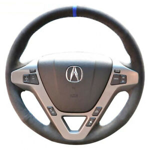 Black Suede Leather Steering Wheel Blue Mark Stitch On Wrap Cover For Acura Mdx