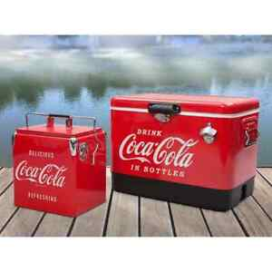 Coca-Cola Ice Chest Cooler Bundle 54 QT + 13.7 QT Stainless Steel Ice Chests