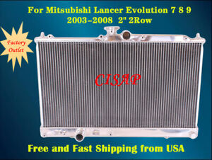 For Mitsubishi Lancer Evolution 2003 2004 2005 2006 2row Aluminum Radiator mt