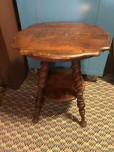 Antique Round Carved Oak Barley Twist Legs Side Occasional Parlor Table