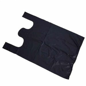 Black Bags 250pcs Shopping Supermarket Food Packaging Plastic Bag With Handles
