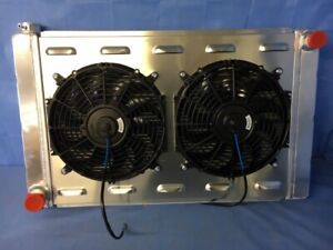 31 X 19 Ford mopar New Aluminum Radiator With Electric Fans And Aluminum Shroud