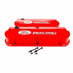 Proform 302 143 Valve Covers Slant Edge Tall Die Cast Red For Sb Ford New