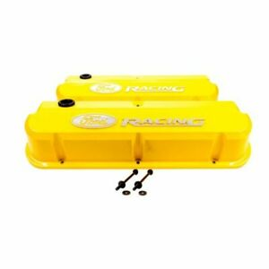 Proform 302 144 Valve Covers Slant Edge Tall Die Cast Yellow For Sb Ford New
