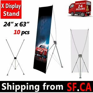 24 X 63 10 Pack tripod X Banner Stand Trade Show Sign Display X Stand 60x160cm