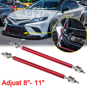 Red Adjustable Bumper Lip Splitter Strut Rod Tie Support Bar For Toyota Camry 86