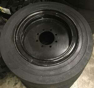 4 Tires With Wheels 34x12 20 12 16 5 Solid Smooth Skid steer Loader Tire